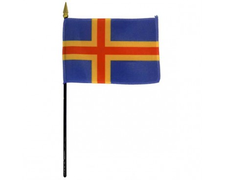 Aland Islands Stick Flag - 4x6""