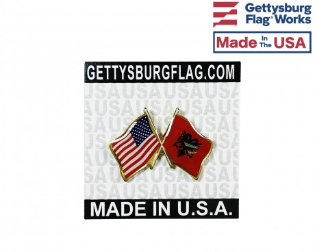 Albania Lapel Pin (Double Waving Flag w/USA)
