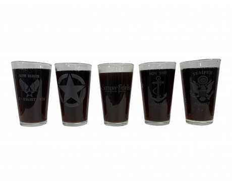 Military Pint Glasses-Set of 5