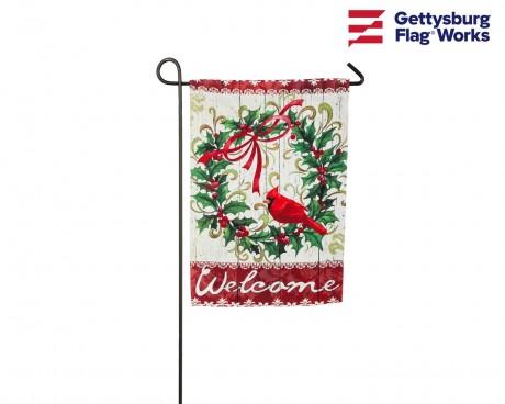 Cardinal Holly Christmas Wreath Garden Flag