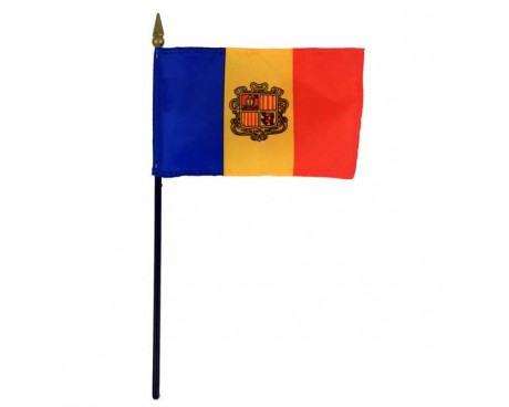 Andorra Stick Flag (with seal) - 4x6""