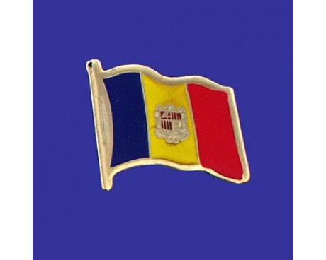 Andorra (seal design) Lapel Pin (Single Waving Flag)