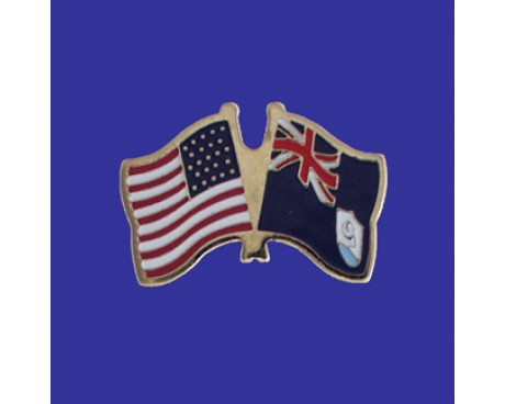Anguilla Lapel Pin (Double Waving Flag w/USA)