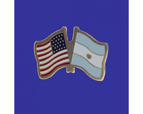 Argentina (seal design) Lapel Pin (Double Waving Flag w/USA)