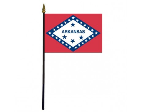 Arkansas State Stick Flag - 4x6""