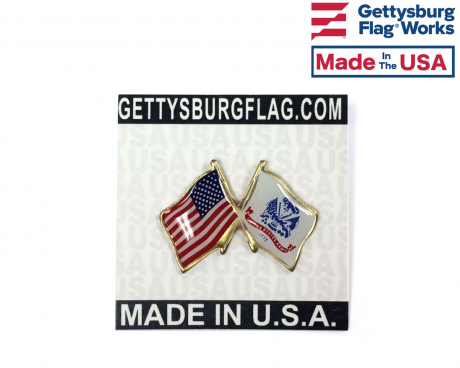 Army Lapel Pin (Double Waving Flag w/USA)