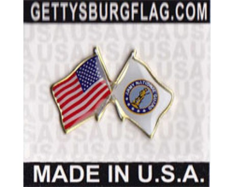 Army Nation Guard Flag Lapel Pin (Double Waving Flag w/USA)