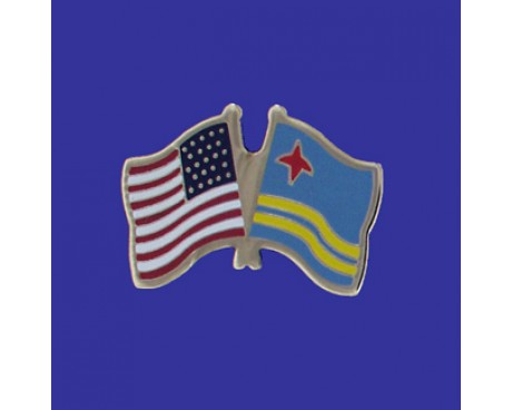 Aruba Lapel Pin (Double Waving Flag w/USA)