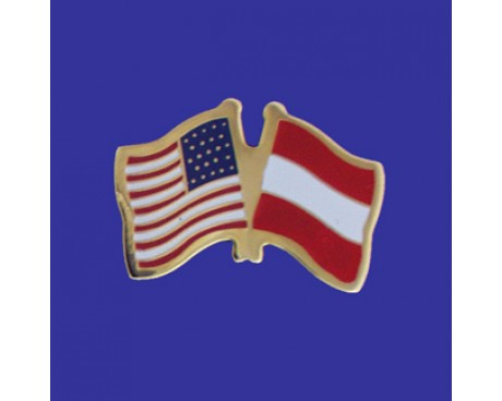 Austria Lapel Pin (Double Waving Flag w/USA)
