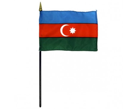 Azerbaijan Stick Flag (Orange Middle Stripe) - 4x6""