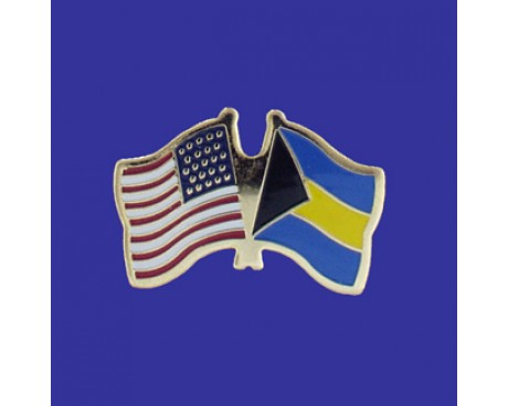 Bahamas Lapel Pin (Double Waving Flag w/USA)