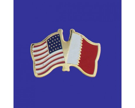 Bahrain Lapel Pin (Double Waving Flag w/USA)