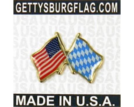 Bavaria (lozenge style) Lapel Pin (Double Waving Flag w/USA)