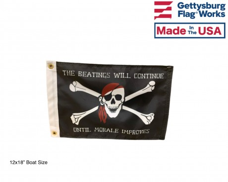 The Beatings Will Continue Until Morale Improves Pirate Flag - Black