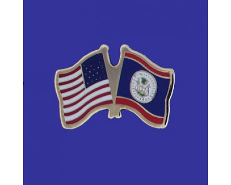 Belize Lapel Pin (Double Waving Flag w/USA)