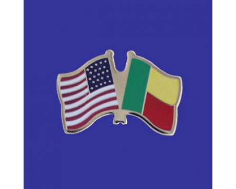 Benin Lapel Pin (Double Waving Flag w/USA)