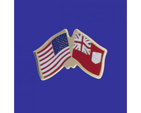 Bermuda Lapel Pin (Double Waving Flag w/USA)