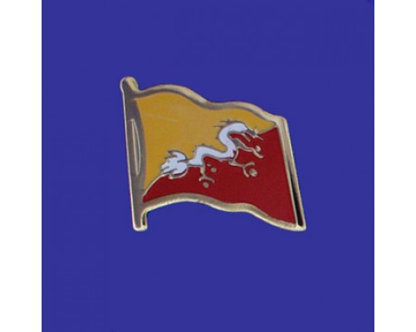 Bhutan Lapel Pin (Single Waving Flag)