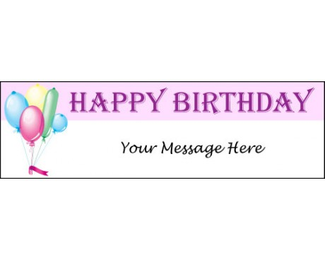 Happy Birthday Balloons Banner - Pink