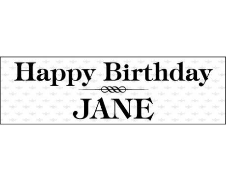 Elegant Black & White Birthday Banner