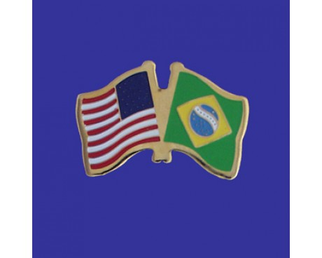 Brazil Lapel Pin (Double Waving Flag w/USA)