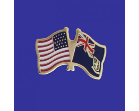 British Virgin Islands Lapel Pin (Double Waving Flag w/USA)