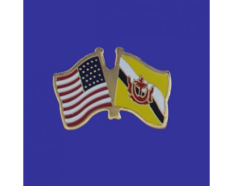 Brunei Lapel Pin (Double Waving Flag w/USA)
