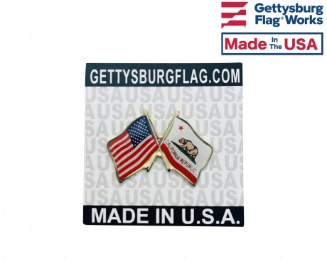 California Lapel Pin (Double Waving Flag w/USA)