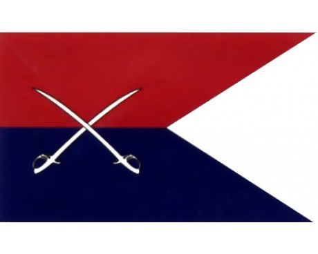 Cavalry Guidon Flag (Red/Blue Crossed Swords) - 3x5'