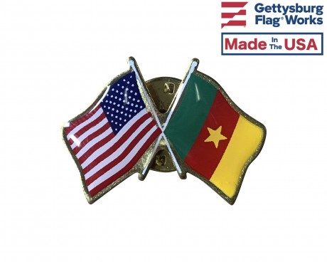 Cameroon Lapel Pin (Double Waving Flag w/USA)