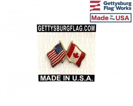 Canada  Lapel Pin (Double Waving Flag w/USA)