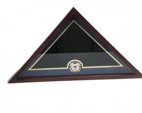 U.S. Flag Display Case with U.S. Coast Guard Medallion
