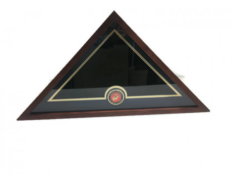 U.S. Flag Display Case with U.S. Marine Corps Medallion