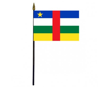 Central African Republic Stick Flag - 4x6""