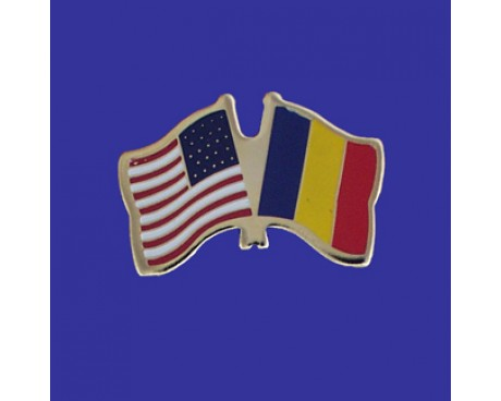 Chad Lapel Pin (Double Waving Flag w/USA)