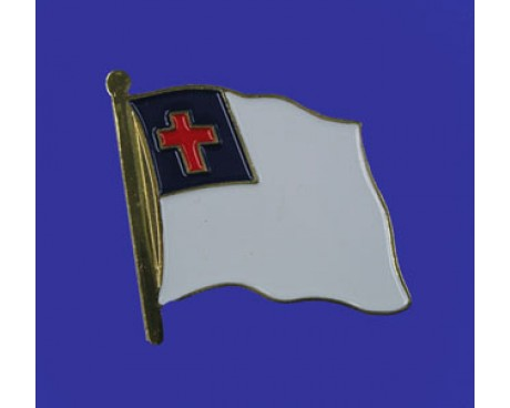 Christian Lapel Pin (Single Waving Flag)