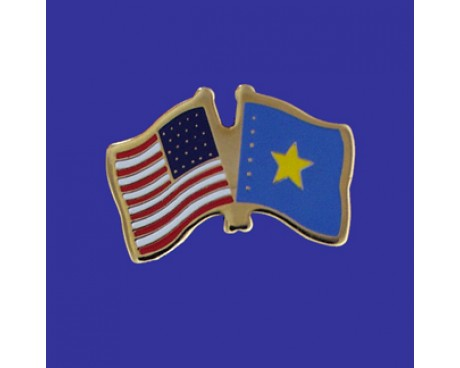 Congo Democratic Republic Lapel Pin (Double Waving Flag w/USA)