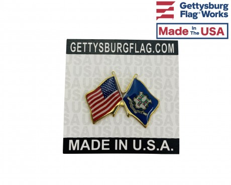 Connecticut State Flag Lapel Pin (Double Waving Flag w/USA)