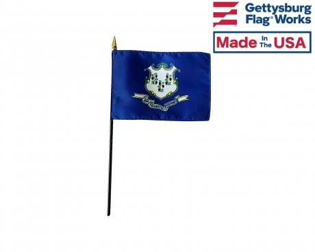 Connecticut State Stick Flag - 4x6""