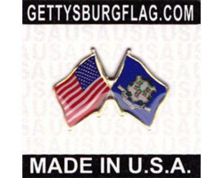 Connecticut State Flag Lapel Pin (with US Flag)