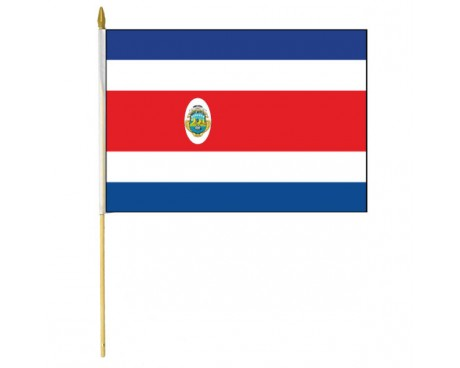 Costa Rica Stick Flag (with Seal)