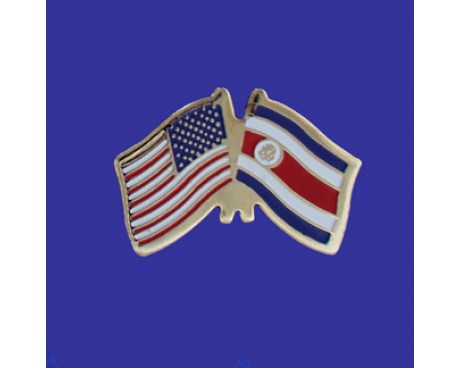 Costa Rica (seal design) Lapel Pin (Double Waving Flag w/USA)