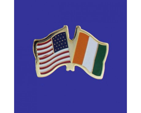 Cote D'Ivoire Lapel Pin (Double Waving Flag w/USA)