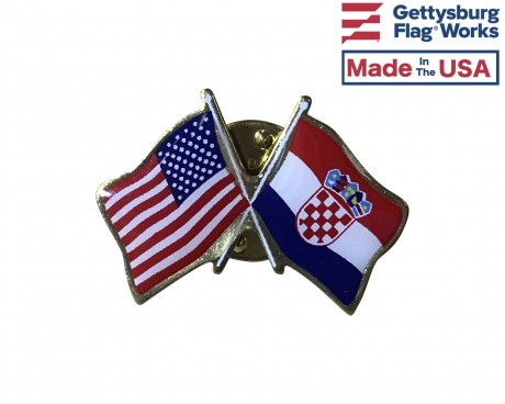 Croatia Lapel Pin (Double Waving Flag w/USA)