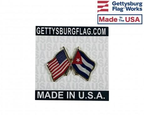 Cuba Lapel Pin (Double Waving Flag w/USA)