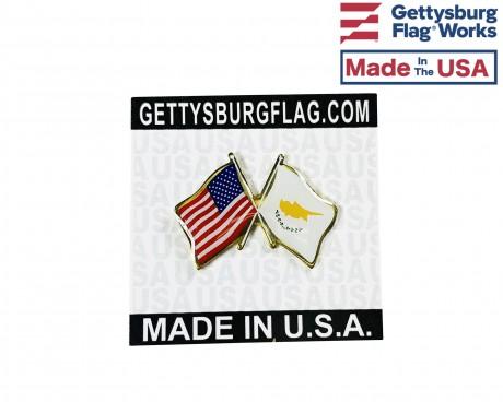 Cyprus Lapel Pin (Double Waving Flag w/USA)