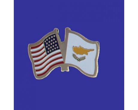 Cyprus Lapel Pin (Double Waving Flag w/USA)