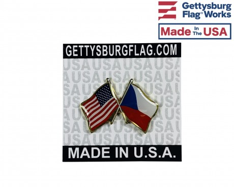 Czech Republic Lapel Pin (Double Waving Flag w/USA)