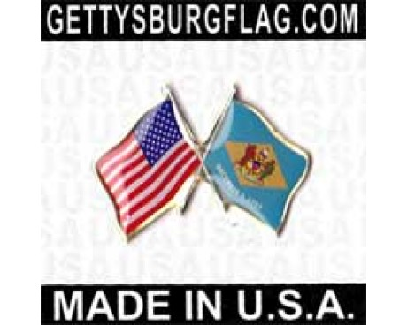 Delaware State Flag Lapel Pin (with US Flag)