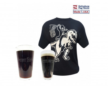 Honest Abe on a T-Rex Shirt and Pint Glass Combo